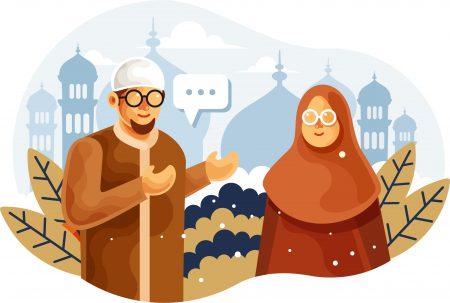Muslim-couple-chatting-vector-illustration